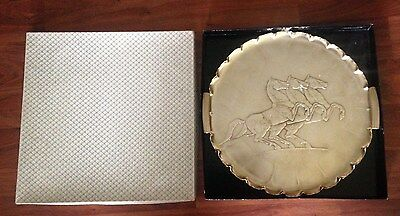 Arthur Armour Hammered Serving Tray w/Horses & Org. Box