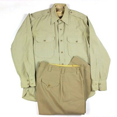 Original Post-Wwii Us Army Officer Khaki Dress Shirt And Trousers Pants Lot