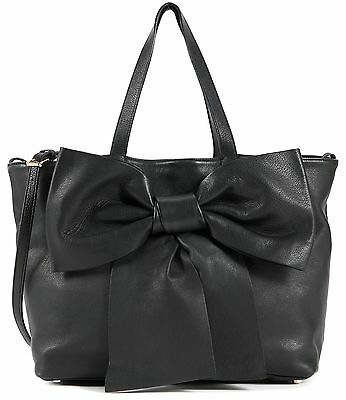 RED VALENTINO Authentic Black Leather Bow Tote Shoulder Bag