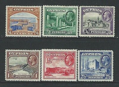 Cyprus - #125-#130 - King George V Definitives Mint Set (1934) Mnh Sg #133-#138