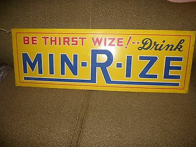 "RARE Vintage Min-R-Ize Soda 12 x 36"" Metal Advertising Sign , Cola, EX Condition"