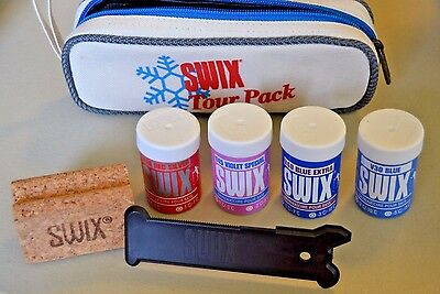 Swix Ski Wax Tour Pack, 4 Waxes, Cork, Scrapper In Zippered Pouch, 2 Used, 2 New