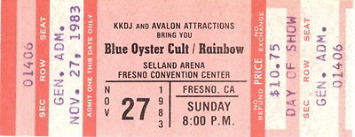 Blue Oyster Cult / Rainbow 1983 Concert Tour Fresno Unused Full Ticket