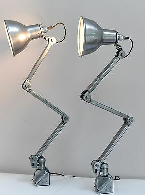 A pair of British vintage industrial machinist's anglepoise lights by EDL C1940