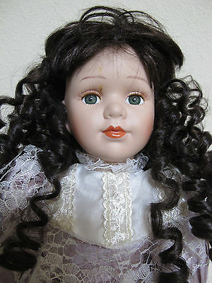 """Seymour Mann Connoisseur Collection Victorian Girl in Lavender 16"""" w/ stand"""