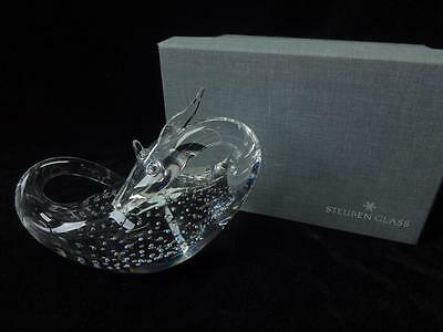 Steuben Glass BXW Crystal Loch Ness Dragon Monster Controlled Bubble Art Vintage