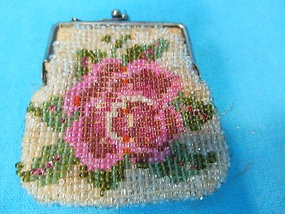 Vintage Beaded Coin Purse Red Pink Rose