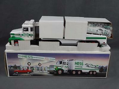 1988 Hess Toy Tractor Trailer Truck Race Car Transporter Complete w Box NM+ LotB
