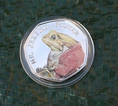 BEATRIX POTTER JEREMY FISHER DECAL COLOURED BRILLIANT UNCIRCULATED 50p BU COIN