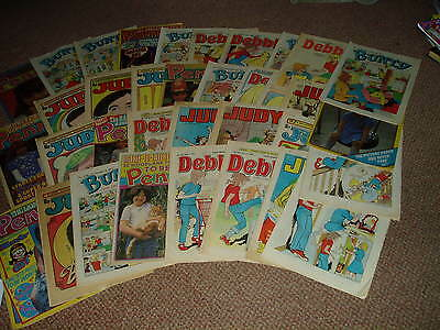 Large Collection Of 70's Comics Bunty,judy,penny,jinty,debbie