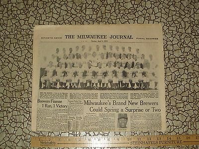 Milwaukee Journal reprint 1970 Pilots move to become Brewers