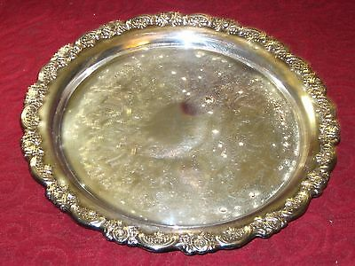 "Heavy, ONEIDA USA 12 1/4"" Silver Plate Serving Tray Platter"