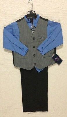 New Jonathan Strong Boys 4 Piece Suit Set Blue Gray Black Size 5 Nwt $48