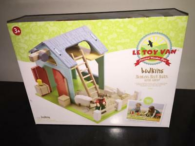 Le Toy Van Wooden Toy BLUE BARN with SHEEP Playset for Budkins Wood Dolls MIB