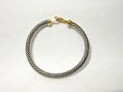 Sterling Silver and 14K Gold 5mm Cable Classic Buckle Hook Bracelet
