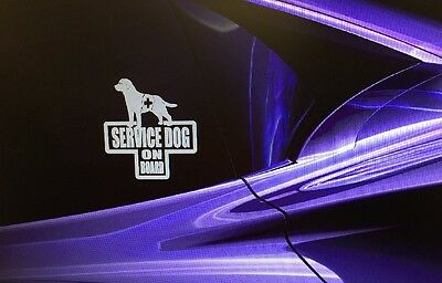 """SERVICE DOG ON BOARD"" Dog Sticker Vehicle/Window 4.5""x5"""