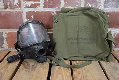 Vintage US Military Gas Mask with Canvas Carrying Bag M17