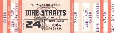 Dire Straits 1979 Communique Tour Concert Tampa, Fla., Unused Full Ticket
