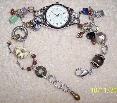 New Desert Heart Silver Tone Bracelet Style  Watch W/ Assorted Beads And Charms
