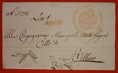 Italy 1823 Prephilatelic Letter from Ponzano to Belluno  - Red Box+ Admin mark