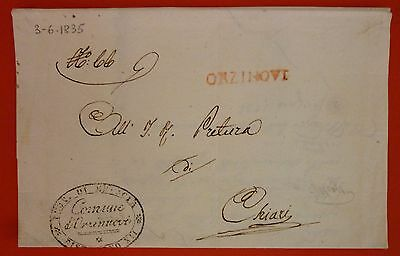 Italy 1835 Prephilatelic Letter from Orzinuovi to Chiari - Linear red
