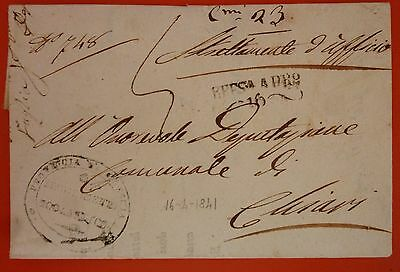 Italy 1841 Lombardo Veneto Prephilatelic Letter from Iseo to Edolo -Linear Black