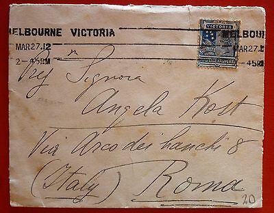 Australia 1912 Cover sent from Melbourne Victoria italy to -Single stamp