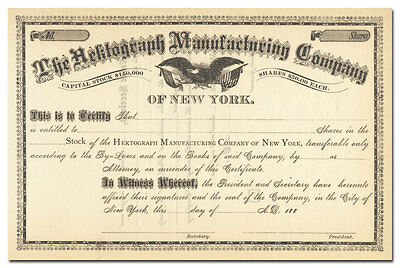 Hektograph Manufacturing Company Stock Certificate (1880's)