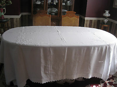 Vintage Antique  EMBROIDERED  Linen Tablecloth 90x130 in.