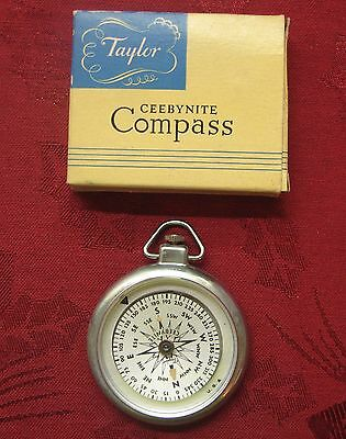 Vintage Taylor Ceebynite Compass No. 2943 W/orig Box