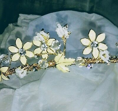 Tiara Headband Cream Flowers Gold Band With Diamantes Bnwb Linzi Jay