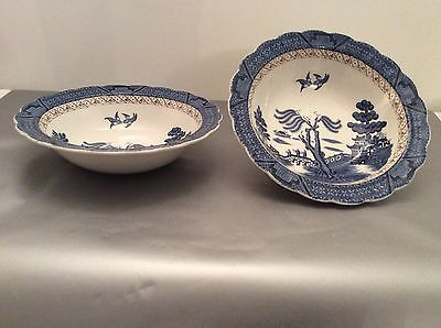 """Booths Real Old Willow Rimmed 9"""" Vegetable Bowls x 2"""