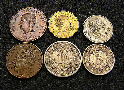 MEXICO~~~Lot of 6 Old Vintage Coins***