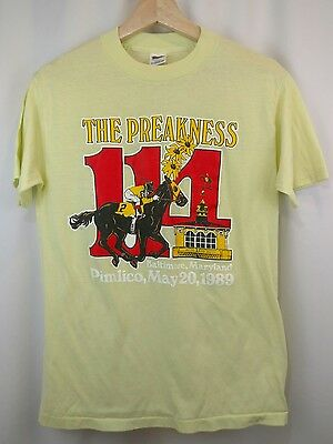 Vtg 80s PIMLICO PREAKNESS STAKES HORSE RACING Yellow T shirt M Soft Thin 1989
