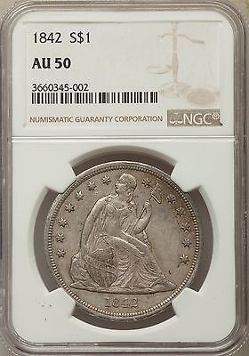 1842 US Seated Liberty Silver Dollar $1 - NGC AU50