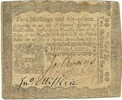 1772 Pennsylvania 2 Shillings 6 Pence Colonial Currency Note - Nice Very Fine