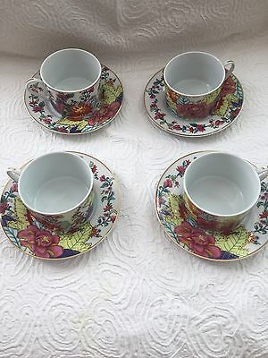 BEAUTIFUL IMPERIAL LEAF CHINA TOBACCO LEAF Cups & Saucers 4 Sets EXCELLENT