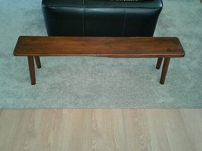 """Antique WOOD 44"""" MORTISE BENCH foot MILKING stool CHILDRENS STURDY SOLID"""