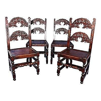 1900s Signed Four 4 Antique Oak Side Dining Chairs Sofa Chaise Armchair Loveseat