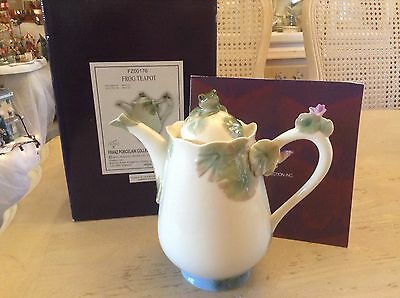 Franz Porcelain Beautiful Large Frog Teapot Original Box Perfect Condition