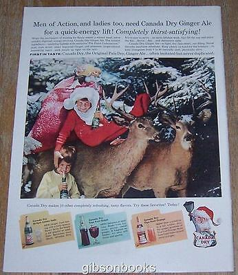 1957 Canada Dry Life Magazine Color Christmas Advertisement with Reindeer