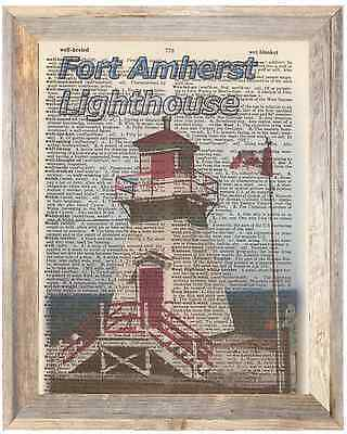 Fort Amherst Newfoundland Lighthouse Art Print Upcycled Vintage Dictionary Page