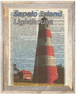 Sapelo Island Georgia Lighthouse Altered Art Print Upcycled Vintage Dictionary