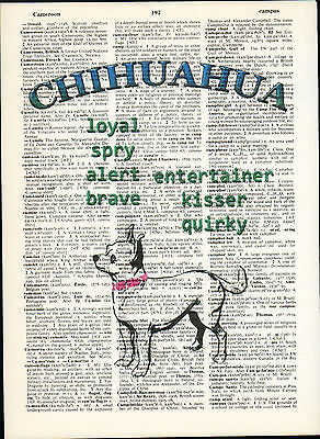 Chihuahua Dog Traits Altered Wall Art Print Upcycled Vintage Dictionary Page
