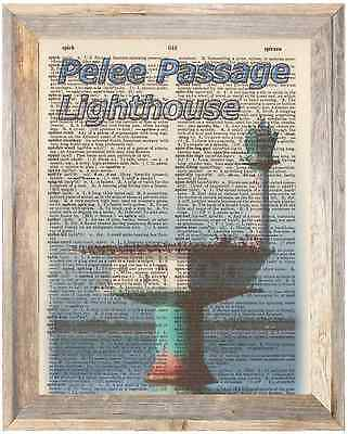 Pelee Passage Lighthouse GreatLake Altered Art Print Upcycled Vintage Dictionary