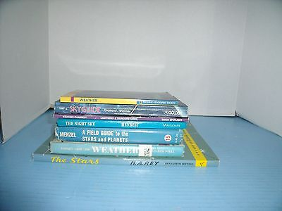 Lot Of 7 Golden Science & Others Guides*weather*sky Planets*the Stars H.a. Rey