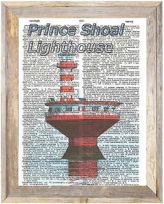 Prince Shoal Lighthouse Quebec CA Altered Art Print Upcycled Vintage Dictionary