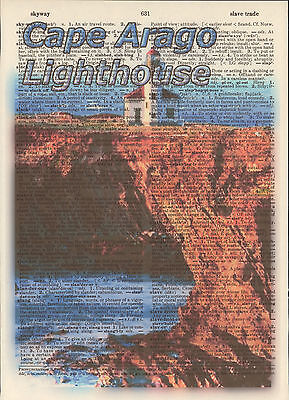 Cape Arago Lighthouse Oregon Altered Art Print Upcycled Vintage Dictionary Page