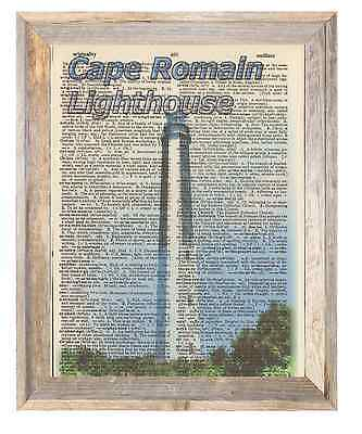 Cape Romain Lighthouse SC Altered Art Print Upcycled Vintage Dictionary Page