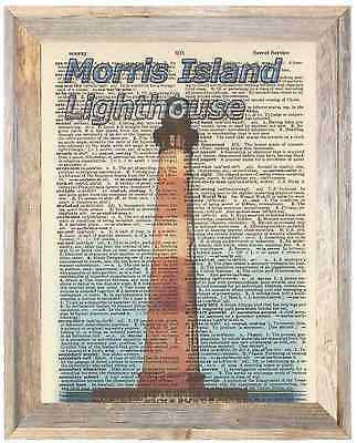 Morris Island Lighthouse SC Altered Art Print Upcycled Vintage Dictionary Page